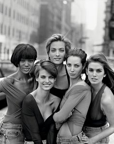 PETER LINDBERGH Naomi Campbell, Linda Evangelista, Tatjana Patitz, Christy Turlington and Cindy Crawford, British Vogue, New York, 1987