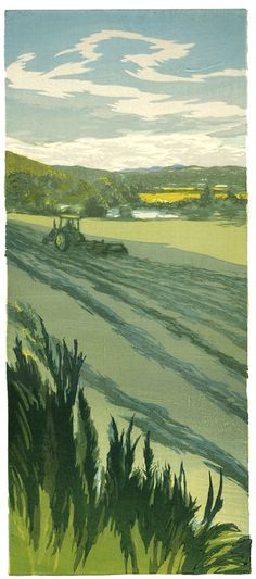 windrows along the connecticut - woodblock print
