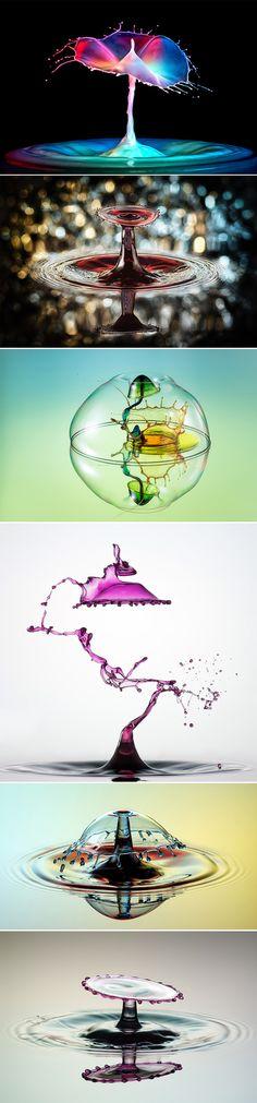 Markus Reugels est un photographe allemand qui utilise dans son travail la prise de vue à haute vitesse pour saisir des instants invisibles à l'oeil nu.  Dans cette série, il travaille sur l'abstraction en saisissant le mouvement d'une goutte d'eau plongée dans de l'encre colorée, le résultat est magnifique et surprenant.