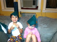 Modeling elves hats...super cute