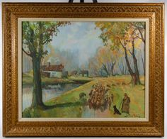 Lot 363: Geza Zorad (Hungarian, 1896-1959) Oil on Canvas; Undated, signed lower right, depicting a herd of cows walking towards trees
