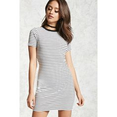 Forever21 Striped Mini Dress ($15) ❤ liked on Polyvore featuring dresses, striped dress, white body con dress, short white dresses, short bodycon dresses and stripe dresses