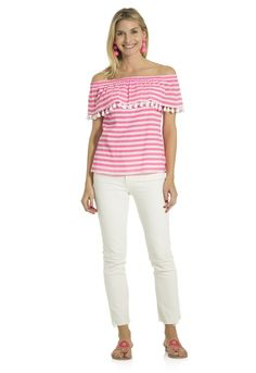9f759a37357f2 Sail to Sable Crinkle Cotton Off Shoulder Top in Pink/White - size small