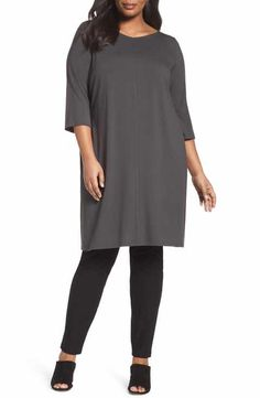 Eileen Fisher Jersey V-Neck Shift Dress (Plus Size)