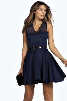 $35, Boohoo Nadine Scallop Lace Belted Skater Dress. Sold by BooHoo. Click for more info: https://lookastic.com/women/shop_items/351885/redirect