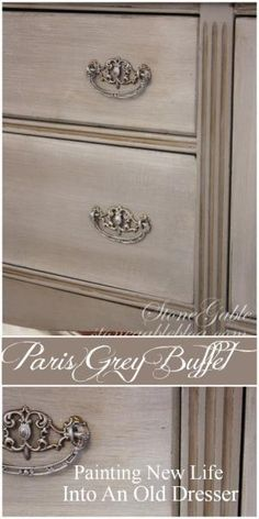 DIY: How to Get this French Paint Finish using Annie Sloan's Chalk Paint - Paris Grey and Pure White paint and clear and dark waxes were used to update this dated buffet - via Stone Gable Blog by tina66