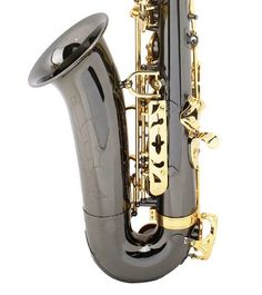 Mendini by Cecilio MTS-BNG+92D Black Nickel Plated and Gold Keys B Flat Tenor Saxophone with Tuner, Case, Mouthpiece, 10 Reeds and More