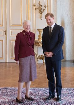 Queen Margrethe welcomes Prince Harry to Amalienborg Palace on...