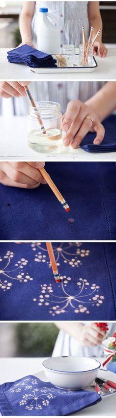 DIY :: Fabric Bleach Art   http://craftbyphoto.com/fabric-bleach-art/