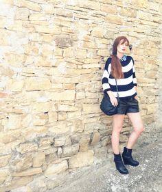 Le righe a modo mio - #stripes #fashion #girl #outfit #style #fashion #blackandwhite #fashionblogger #fashionblog #shorts #ecoleather #summerlooks #basic @CocobiaStore