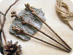Медные шпильки-веточки - коричневый,лес,лесной,веточки,деревья,дерево