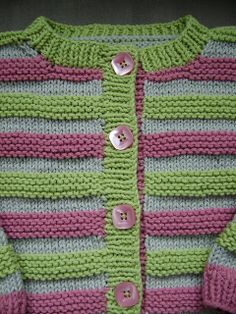 Ravelry: Striped Cardi / Playful Stripes Cardigan pattern by Lion Brand Yarn Baby Cardigan Knitting Pattern Free, Kids Knitting Patterns, Baby Sweater Patterns, Crochet Baby Cardigan, Baby Boy Knitting, Knit Baby Sweaters, Cardigan Pattern, Knitting For Kids, Striped Cardigan