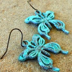 FUN fund - verdigris patina dangly butterfly earrings