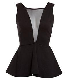 Black (Black) Club L Black V Mesh Peplum Top | 263461101 | New Look 8pounds
