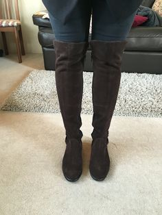 Tall dark suede brown winter boots