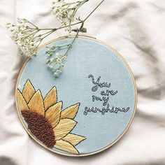 You Are My Sunshine Sunflower Embroidery Sunshine Embroidery Hoop Nursery Decor Mothers Day - 16 fabric crafts Nursery embroidery hoops ideas Diy Embroidery Patterns, Embroidery Hoop Crafts, Hand Embroidery Patterns, Cross Stitch Embroidery, Creative Embroidery, Embroidery Hoop Nursery, You Are My Sunshine, Embroidery For Beginners, Nursery Decor