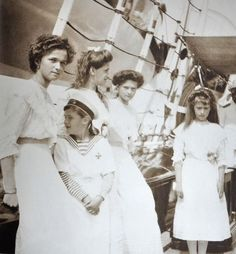 The children of the Tsar and Empress; the Grand Duchesses Olga, Maria, Tatiana and Anastasia with their brother Tsesarevich Alexei onboard the Russian Imperial Yacht Standart