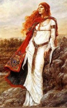 "Boudica - Queen of the British Iceni Tribe, a Celtic tribe who led an uprising against the occupying forces of the Roman Empire in 60 AD. Cassius Dio says that she was ""possessed of greater intelligence than often belongs to women"", that she was tall and had hair described as red, reddish-brown or tawny hanging below her waist. She had a harsh voice and piercing glare, and habitually wore a large golden necklace (perhaps a torc), a many-coloured tunic, and a thick cloak fastened by a brooch."