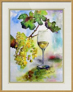 """#Chardonnay #White #Wine and #Grapes"""" by @ginetteart  A series of Wine Grape Paintings. @Imagekind.com -- Buy stunning fine art prints, framed prints and canvas prints directly from independent working artists and photographers."""