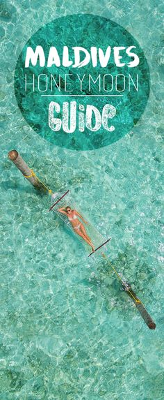 pinterest pin for a guide to Honeymoon in the Maldives - woman on a hammock in the Maldives