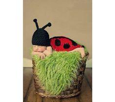 Crochet Lady Bug Blanket and Cap Set | BabyBeastBoutique - Children's on ArtFire
