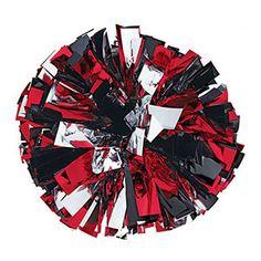 "Metallic+Black/Red/Silver+4""+Baton+Handle+Poms by Cheerleading Company"