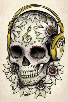 Skull music tattoo -yellow