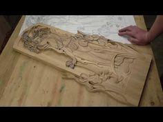 Панно девушка на озере, часть вторая, резьба по дереве - YouTube