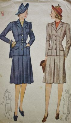 1930s Military Fashion Two Piece Suit with Pleated Skirt Simplicity 4151 Vintage Sewing Pattern by BluetreeSewingStudio on Etsy https://www.etsy.com/listing/191997800/1930s-military-fashion-two-piece-suit