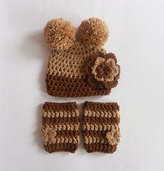 NEW Crochet SET  Teddy Bear Hat and Leg Warmers by KnittingLand, $22.50