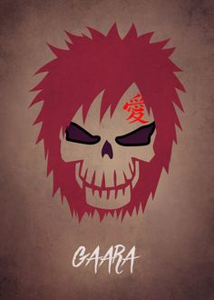 """Naruto Shippuden Character Skulls Gaara artwork by artist """"Mauricio Somoza"""". Gaara, Naruto Uzumaki, Anime Naruto, Boruto, Naruto Shippuden Characters, Kakashi Hatake, Naruto Art, Itachi, Anime Manga"""