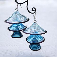 Light & dark blue bells lampwork earrings by KatyaGlass on Etsy, $26.00