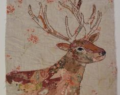 Unframed appliqued and hand embroidered deer on very old quilt fragment by mandy patullo Bird Applique, Applique Patterns, Applique Ideas, Fabric Crafts, Sewing Crafts, Stitch Drawing, Old Quilts, Textiles, Textile Artists