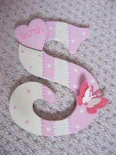 Shabby personalised girls diamante wooden wall letter