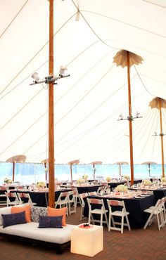 Malloy Events at Abenaqui Country Club in Rye, NH. navy and coral reception tent