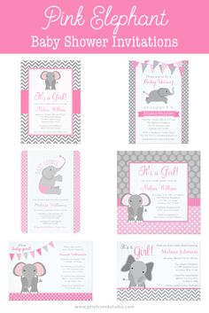Pink elephant baby shower invitations. Cute designs in pink and gray. Perfect for a girl baby shower. Matching products available.