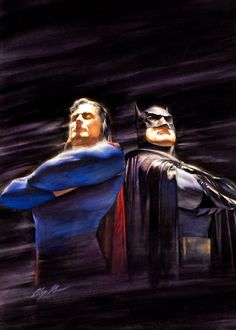 "Alex Ross Superman and Batman ""Beyond Zero Hour"" Wizard Magazine Special Cover Painting Original Art. Alex Ross, Batman Et Superman, Batman Cape, Comic Books Art, Comic Art, Book Art, Gotham, Star Trek, Dc Comics"
