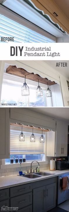 **Great idea but I'd use a longer wooden box and paint it to match the cabinets. Make the Plain Space Fun Using a DIY Pendant Cage Light with a Wooden Box.