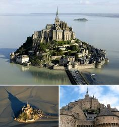 (@Elizabeth Lockhart Folger) Mont Saint-Michel Castle France - Le Mont-Saint-Michel (English: Saint Michael's Mount) is a rocky tidal island and a commune in Normandy, France. It is located approximately one kilometre off the country's north coast, at the mouth of the Couesnon River near Avranches. The population of the island is 50.