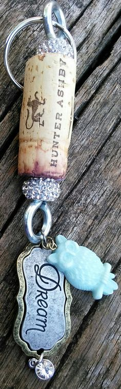 Sparkling Wine Cork Keychain by DixieShimmer on Etsy