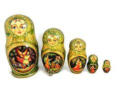 Matryoshka Russian Nesting Dolls FAIRY TALE AND Enamel Egg Pendant