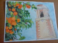 La Torre Del Reloj De Estepona con un naranjo a la izquierda. Dibujo realizado con acuarela