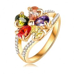 Luxury Multicolor...  Click To Order  http://jere-miah-jewelry.myshopify.com/products/luxury-multicolor-crystal-flower-ring-18k-gold-plated-made-with-genuine-austrian-crystals-cute-rings-wholesale-ri-hq0377-c?utm_campaign=social_autopilot&utm_source=pin&utm_medium=pin We Ship Worldwide!