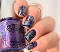 watermarble holo nail art by melyne nailart