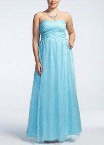 Sweet and modern, this long prom dress hits all the right notes and so will you as you turn heads all night long!   Sweetheart strapless ball gown features a figure flattering shirred panel bodice and eye-catching side cut-out detail.  All over glitter mesh fabric sparkles while corset back detail adds drama and support.  Fully lined. Corset back. Imported polyester. Spot clean. Available in Missy sizes as Style 211S50360.