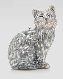 Judith-Leiber-Cat-Capone-Clutch-Bag silver beige white etc Judith Leiber, Beaded Purses, Beaded Bags, Crazy Cat Lady, Crazy Cats, Cat Bag, Cat Purse, Vintage Purses, Vintage Hats