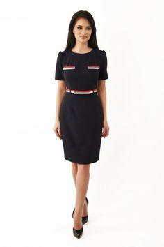Rochie de zi midi din stofa Lille Couture Zizi bleumarin Roxy, Dresses For Work, Couture, Fashion, Moda, Fashion Styles, Haute Couture, Fashion Illustrations