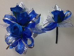 Royal Blue Silk Corsage n Boutonniere Set