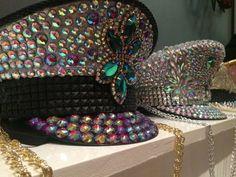 CUSTOM Burning Man Captain Hat, hand placed jewels and rhinestone festival hat, Playa perfect costume headdress, reversible sequin top