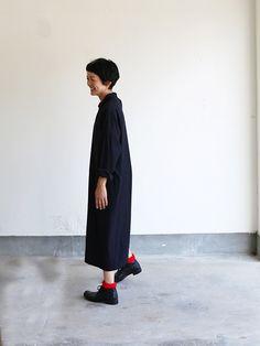 Mini collar slip on dress~wool silk rain stripe 1